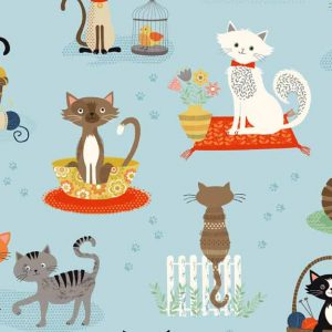 Crafty Cats Spaced Cats on Blue